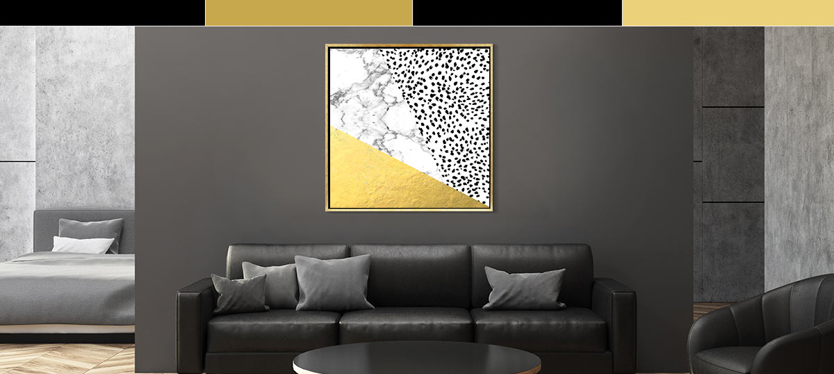 Black & White & Gold Canvas Art