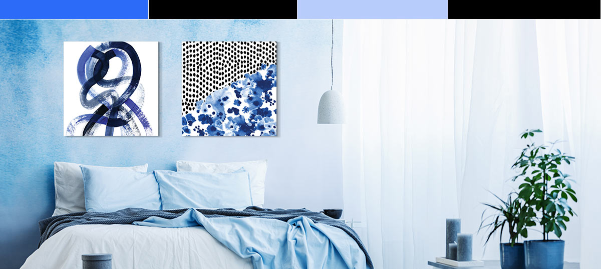 Black & White & Blue Canvas Wall Art