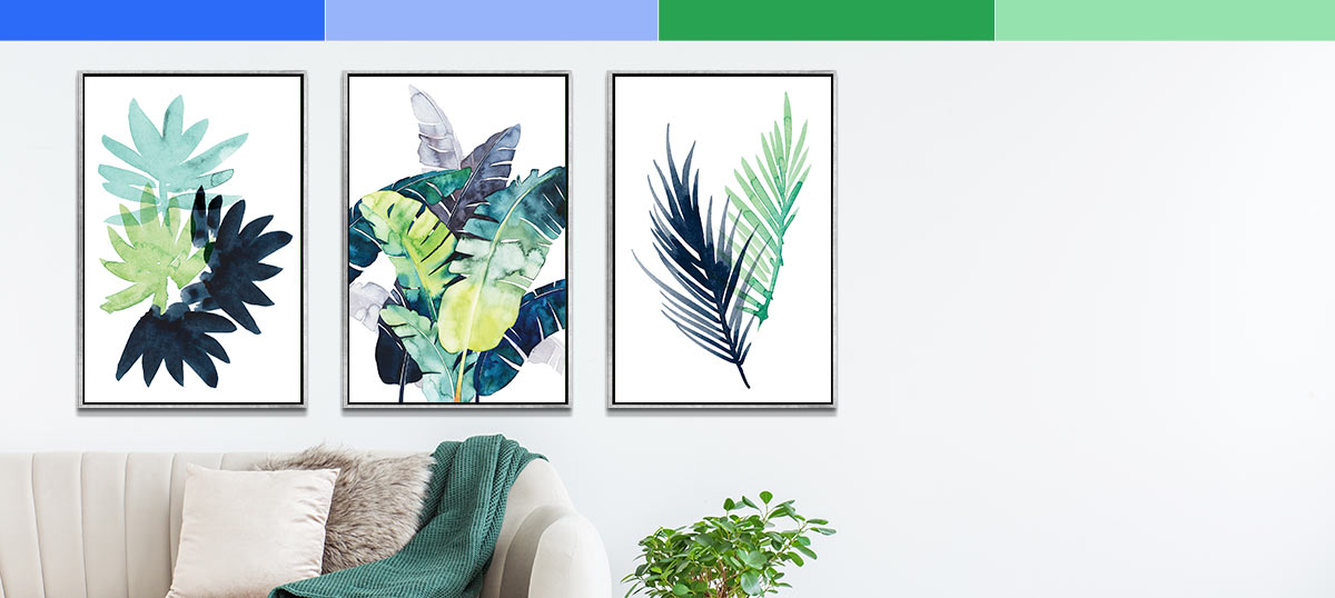 Blue and Green Canvas Art