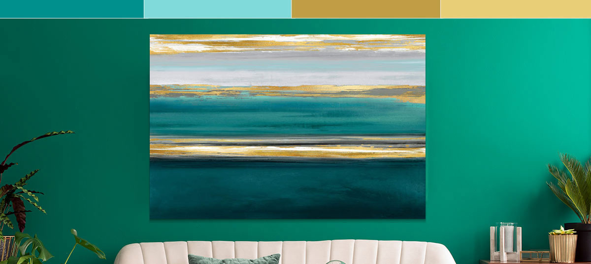 Gold & Teal Canvas Wall Art