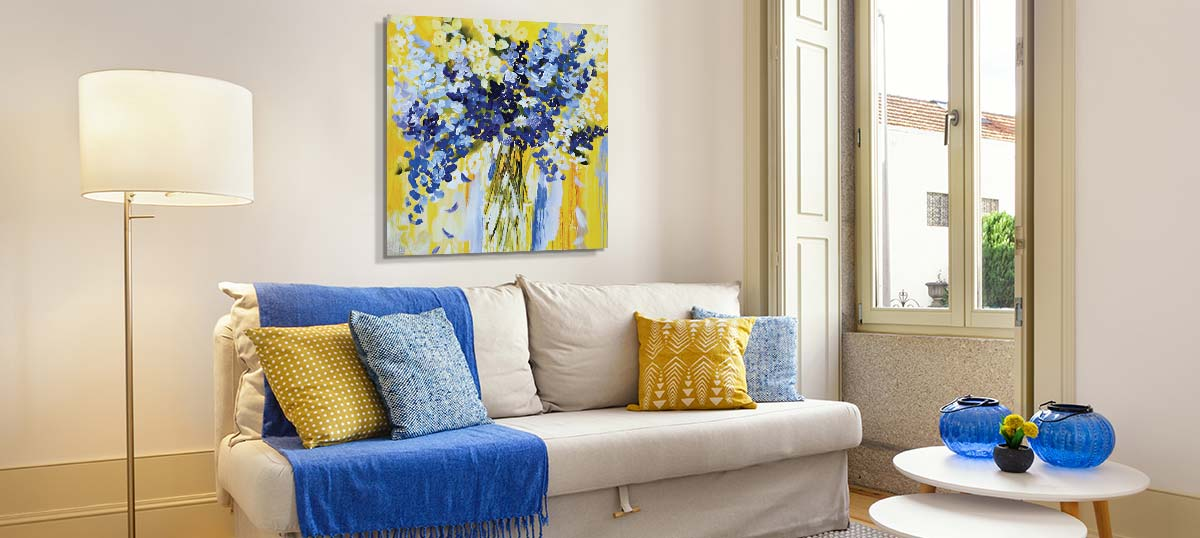 Soft Yellow & Blue Canvas Prints