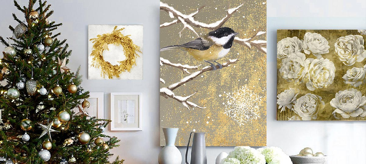 White & Gold Canvas Wall Art