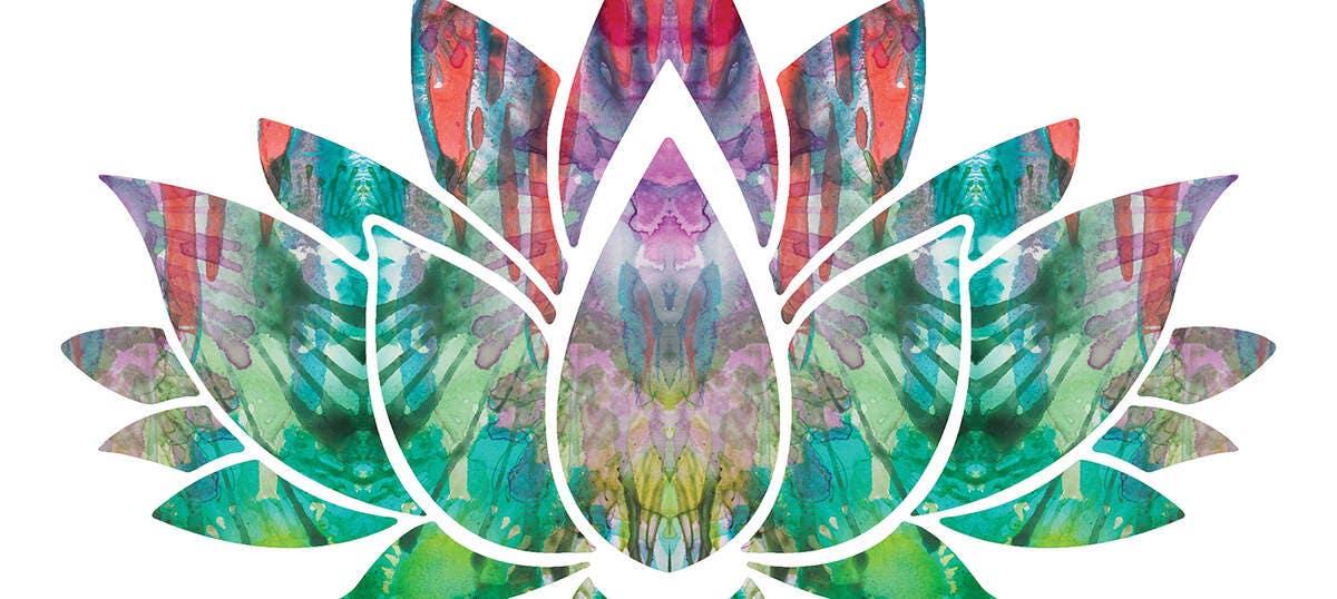 Buddhism Yoga Pose Psychedelic Wall Art Print