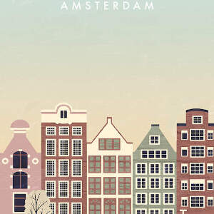 Amsterdam Travel Posters Canvas Artwork
