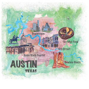 Austin Maps Canvas Art
