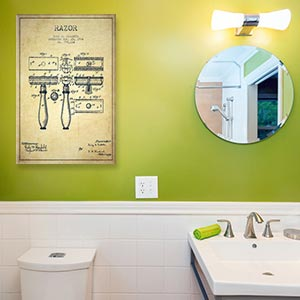Bathroom Blueprints Canvas Art Prints