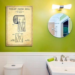 Bathroom Blueprints Canvas Wall Art