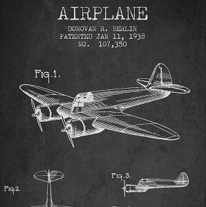 Aviation Blueprints Canvas Wall Art