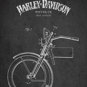 Motorcycle Blueprints Canvas Wall Art
