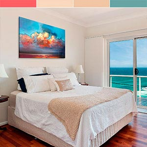 Caribbean Blue & Coral Canvas Artwork
