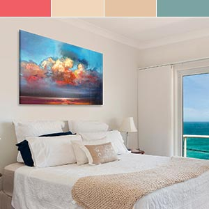 Caribbean Blue & Coral Canvas Art Prints