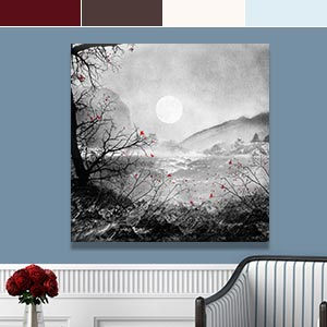 Ice Blue & Cherry Red Canvas Art