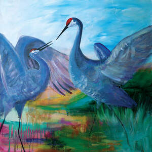 Cranes Canvas Wall Art