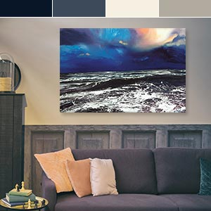 Dark and Stormy Blue Canvas Artwork