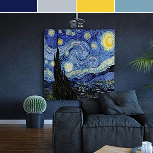 Dichotomy: Cobalt & Yellow Canvas Wall Art