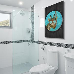 Bathroom Blueprints Fun Canvas Prints