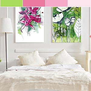Green Meets Pink Canvas Artwork