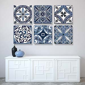 Indigo & White  Canvas Wall Art