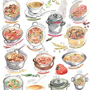 International Cuisine Canvas Art Prints