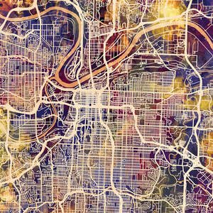 Kansas City Maps Canvas Wall Art