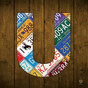 Letter U Canvas Wall Art