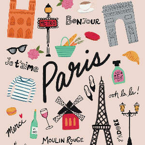 Paris Typography Canvas Art Prints
