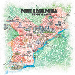 Philadelphia Maps Canvas Art Prints