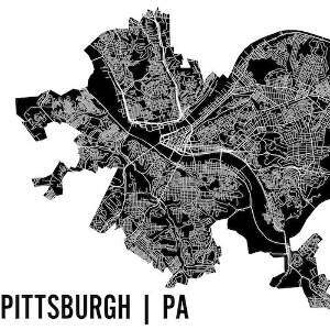 PIttsburgh Maps Canvas Art Prints