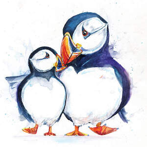 Puffins Canvas Artwork
