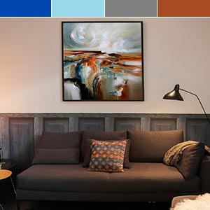Rust, Carbon and Cobalt Canvas Wall Art