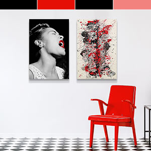 Black & White & Red Art Prints