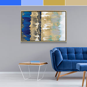 Blue and Gold Canvas Wall Art