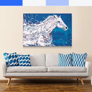 Blue and White Canvas Artwork