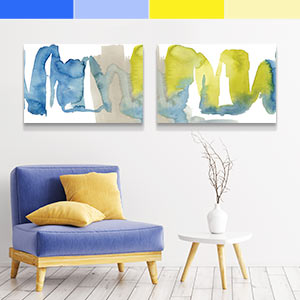 Blue and Yellow Canvas Artwork