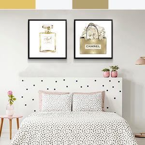 Gold and White Canvas Art
