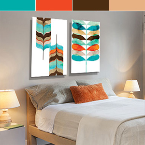 Orange, Teal & Espresso Art Prints