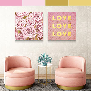 Gold & Pink Canvas Art