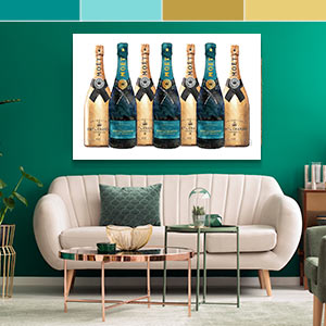 Gold & Teal Canvas Prints
