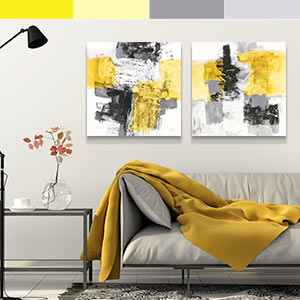 Gray and Yellow Canvas Art