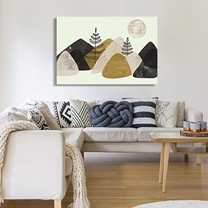 Coastal Scandinavian Living Room Canvas Art