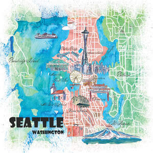 Seattle Maps Canvas Prints