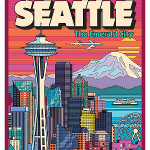Seattle Travel Posters Canvas Wall Art