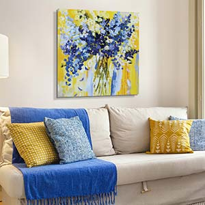 Soft Yellow & Blue Canvas Artwork