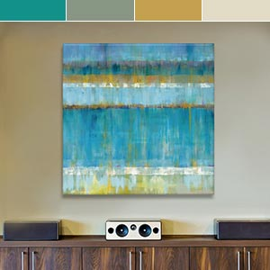 Teal and Gold Canvas Wall Art