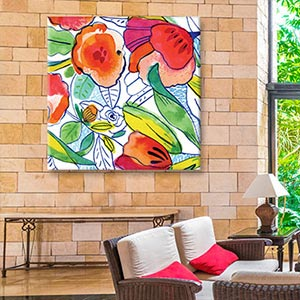 Tropical Living Room Canvas Prints
